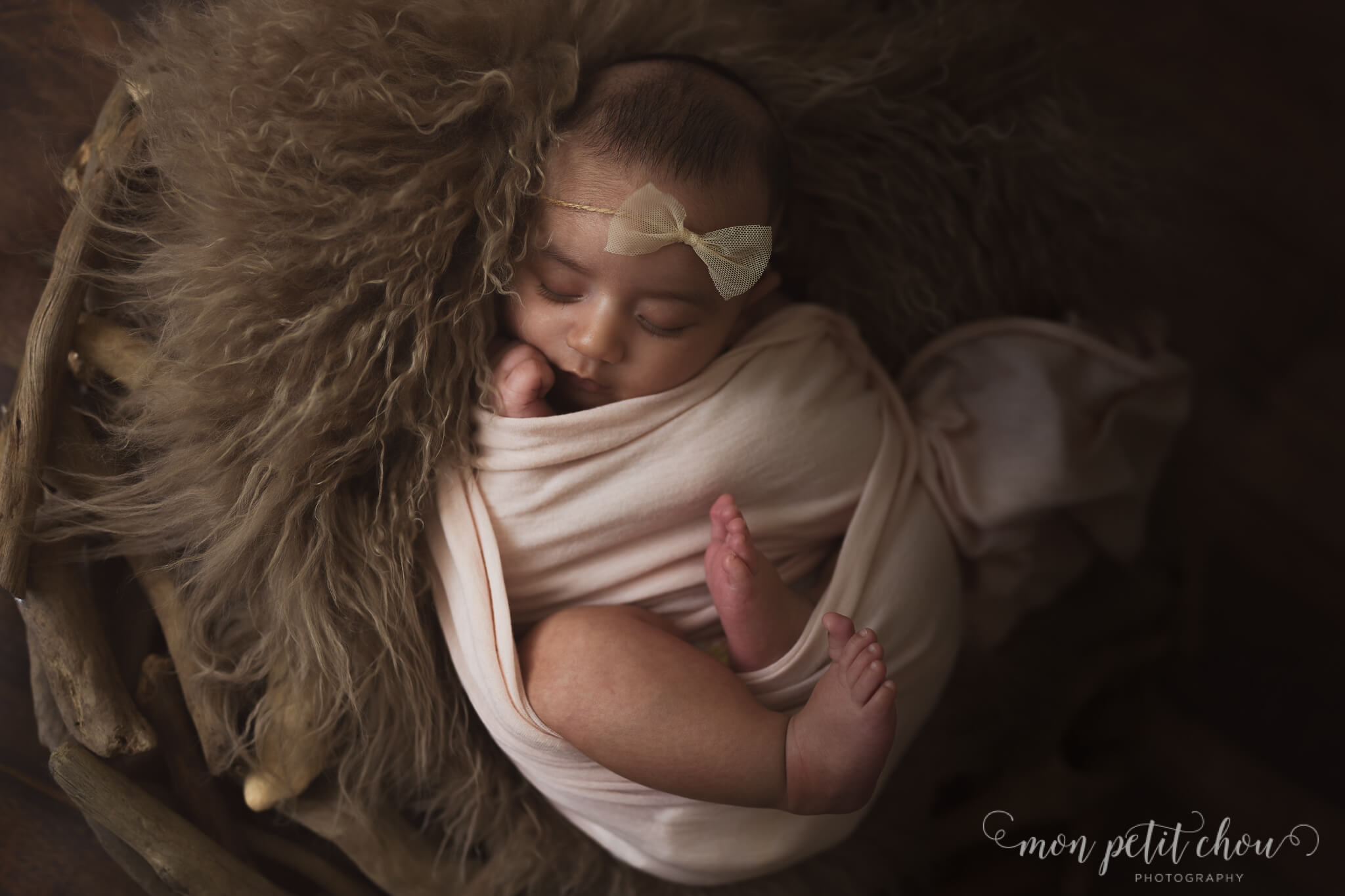 Newborn baby girl on top of brown fur on a driftwood prop.