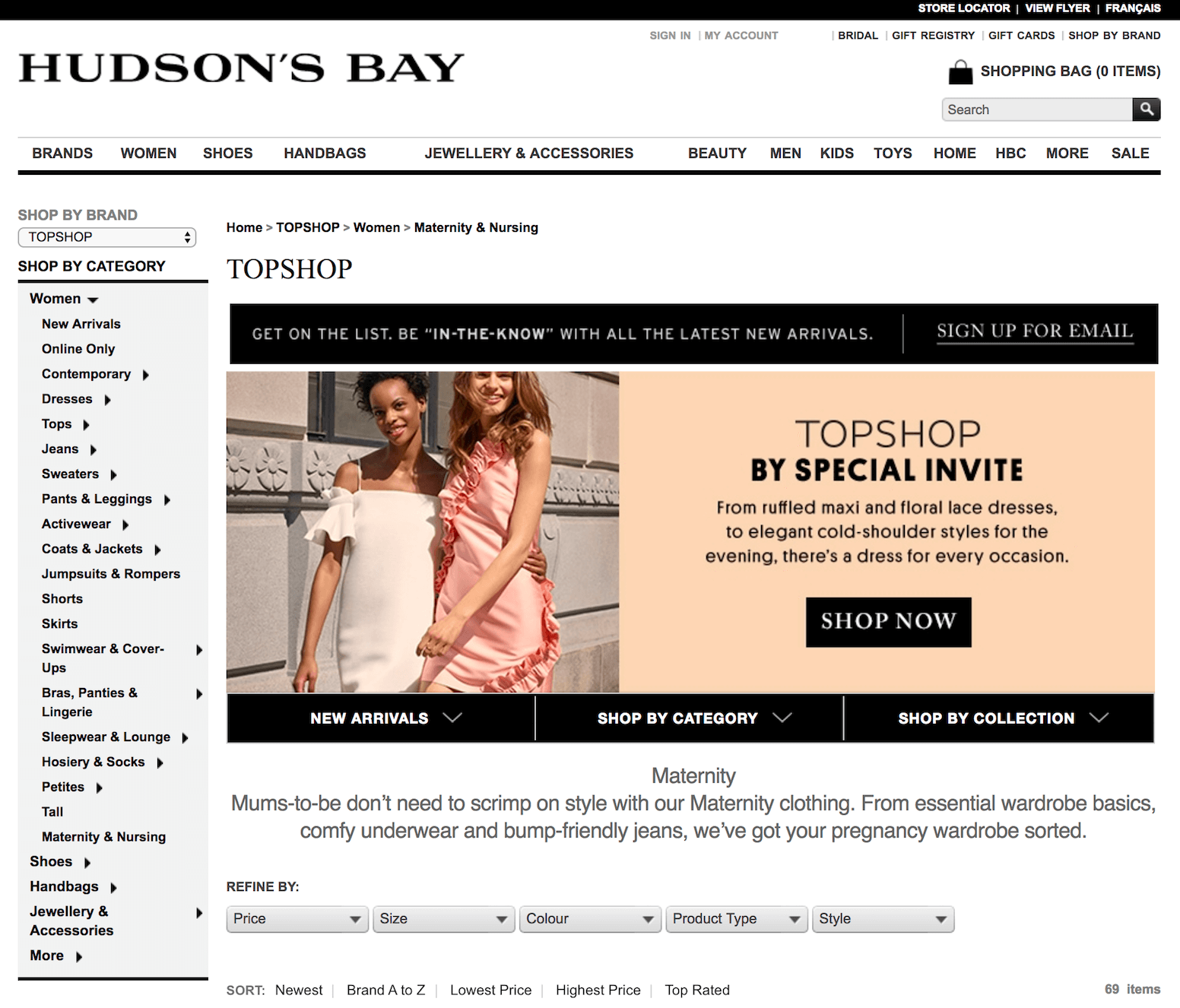 Top Shop at Hudson's Bay Maternity Store