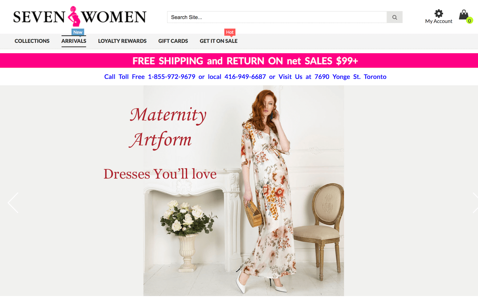 Screenshot of Seven Women Maternity Store's website