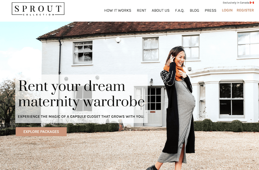 Sprout Collection Maternity Clothes Rental website screenshot